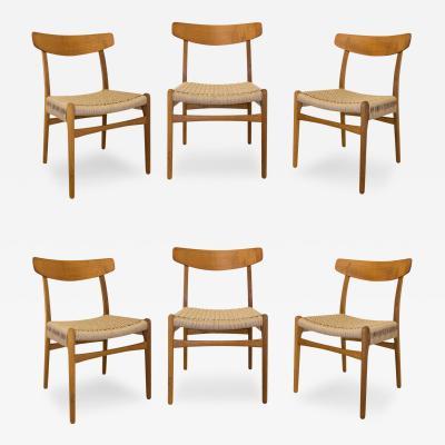 Hans Wegner Set of Six Hans Wegner Oak Teak Dining Chairs Made by Carl Hansen Model CH 23