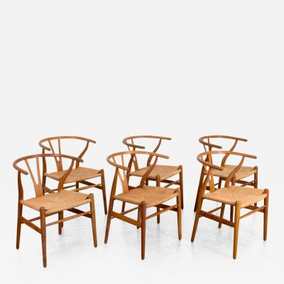 Hans Wegner Set of Six Hans Wegner Wishbone Chairs