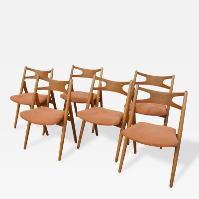Hans Wegner Set of Six Oak CH 29 Sawbuck Dining Chairs by Hans Wegner for Carl Hansen