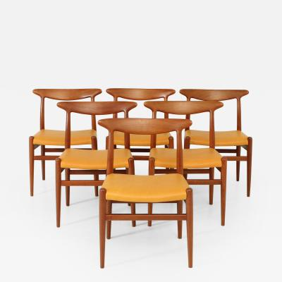 Hans Wegner Set of Six W2 Chairs by Hans Wegner 1953