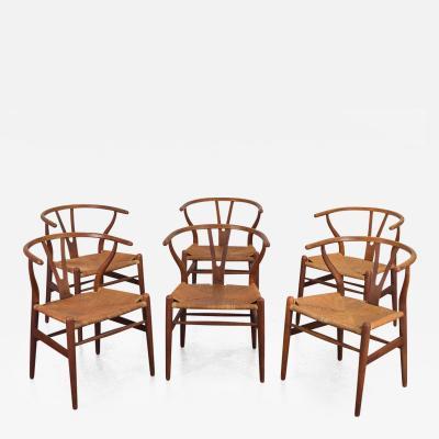 Hans Wegner Set of Six Wegner Wishbone CH 24 Dining Chairs for Carl Hansen Son