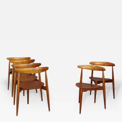 Hans Wegner Set of six chairs by Hans J rgensen Wegner for Fritz Hansen in teak wood from 19