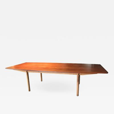 Hans Wegner T 54 important and large teak and oak dining or conference table by Hans Wegner