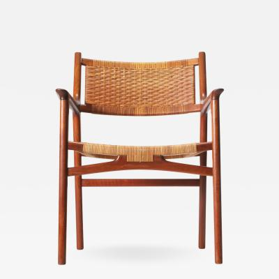 Hans Wegner Teak Armchair with Caned Seat and Back