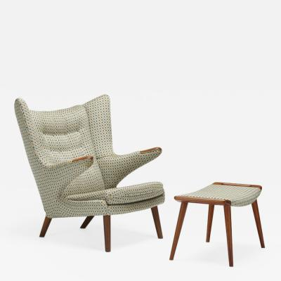 Hans Wegner Teak Papa Bear chair and ottoman by Hans J Wegner for A P Stolen