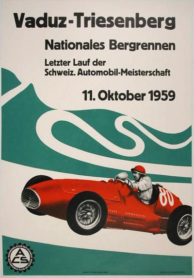 Hans Witschi Swiss Motor Race Poster with Maserati by Hans Witschi 1959