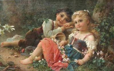 Hans Zatzka Hans Zatzka Austrian 1859 1945 Exceptional Oil on Canvas Young Children