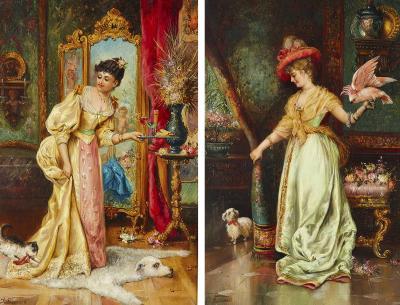 Hans Zatzka Pair of genre paintings of ladies with animals by Hans Zatzka