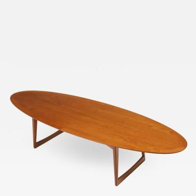 Hans loh Elegant Mid Century Modern Surfboard Coffee Table Designed by Hans loh