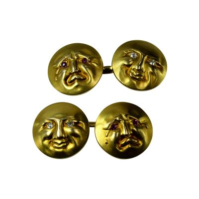 Happy Sad Moon Face Cufflinks