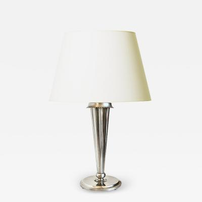 Harald Notini Art Deco Silvered Torch Lamp by Harald Notini for Bohlmarks