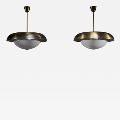 Harald Notini Pair of Harald Notini brass and glass pendants for Bohlmarks