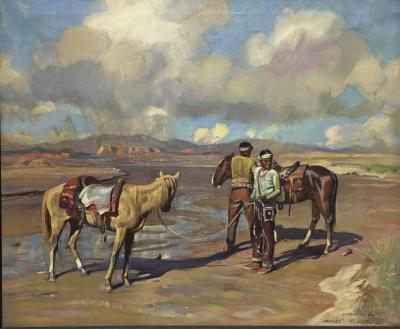 Harold Harrington Betts Two Navajo Men Watering their Horses in the Desert