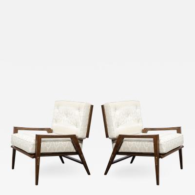 Harold M Schwartz Pair of Mid Century Modern Oak Lounge Chairs by Harold Schwartz for Romweber Co
