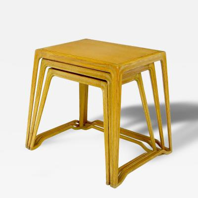 Harold M Schwartz Trio of Harold Schwartz White Oak Nesting Tray Tables for Romweber