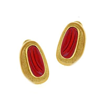 Haroldo Burle Marx Burle Marx Forma Livre Pink Tourmaline Carved Earrings