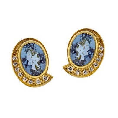 Haroldo Burle Marx Burle Marx Oval Aquamarine and Diamond Earrings