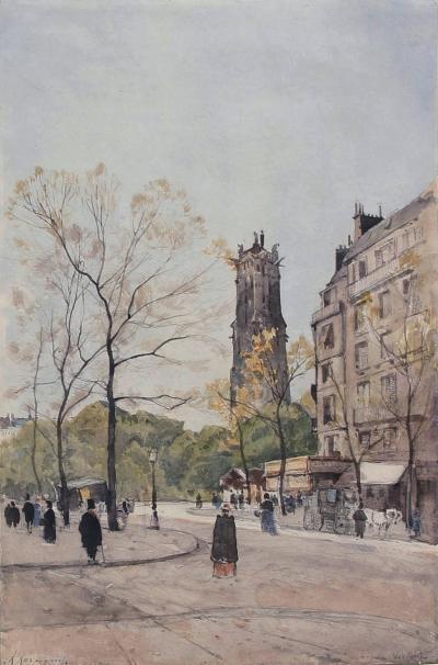 HENRI JOSEPH HARPIGNIES La Tour St Jacques from Avenue Victoria Paris