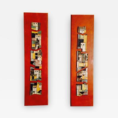 Harris Strong Amazing Pair of Mid Century Harris Strong Ceramic Wall Plaques