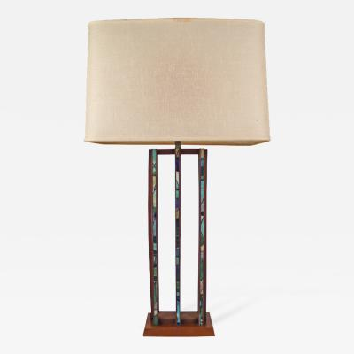 Harris Strong Table Lamp Designed by Harris Strong Crafted of Tile and Teak Wood