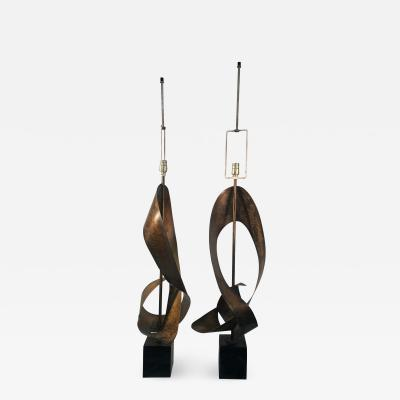 Harry Balmer MIXED METALS ABSTRACT SCULPTURAL LAMPS BY HARRY BALMER
