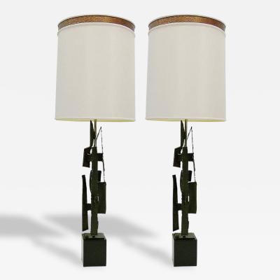 Harry Balmer Pair of Brutalist Torch Cut Table Lamps by Harry Balmer for Laurel