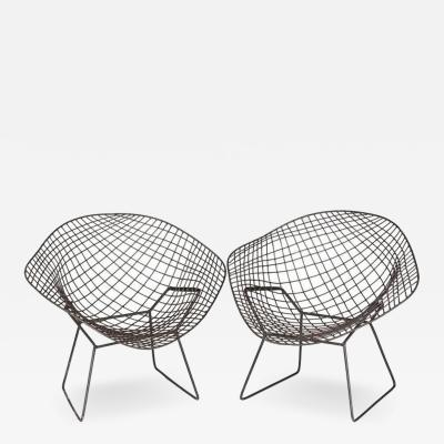Harry Bertoia 1990s Harry Bertoia Metal Pair of Chairs Diamond Model
