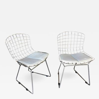 Harry Bertoia Chrome Childrens Bertoia Side Chair with White Seat Cushion by Knoll Pair