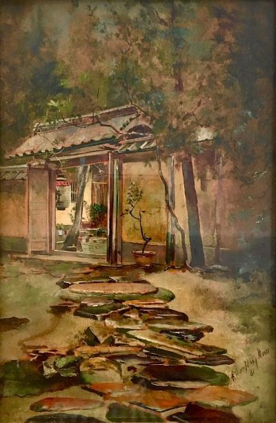 Harry Humphrey Moore Rainy Day at Hotel Entrance Japan 1881