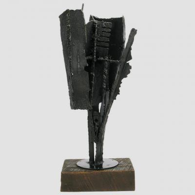 Harry Irving Gates H I Gates Brutalist Metal Abstract Sculpture on Wood Base
