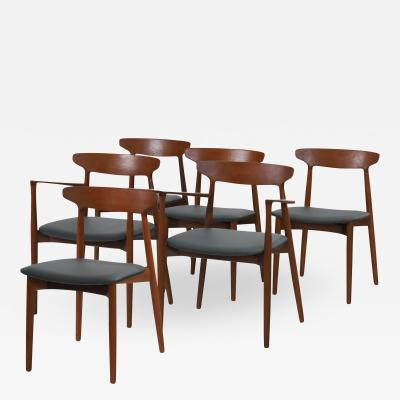 Harry Ostergaard Set of Six Scandinavian Modern Solid Teak Dining Chairs by Harry Ostergaard
