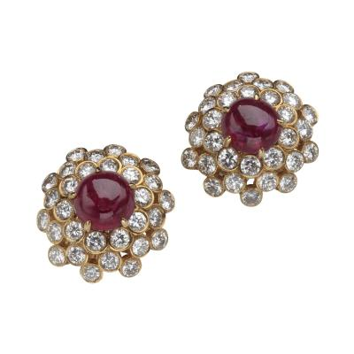 Harry Winston HARRY WINSTON DIAMOND RUBY 18KT EARRINGS
