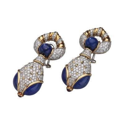 Harry Winston Harry Winston Lapis Diamond and Ruby 18kt White Yellow Gold Earrings