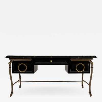 Hart Associates Black Lacquered Desk with Black Glass Top