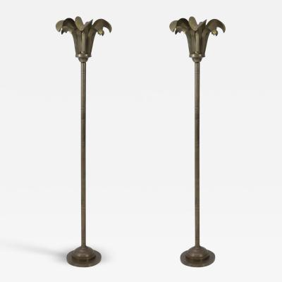 Hart Associates Brass Palm Frond Floor Lamps Hart Associates 1980