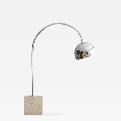 Harvey Guzzini Harvey Guzzini Chrome Arc Table Lamp on Square Travertine Base