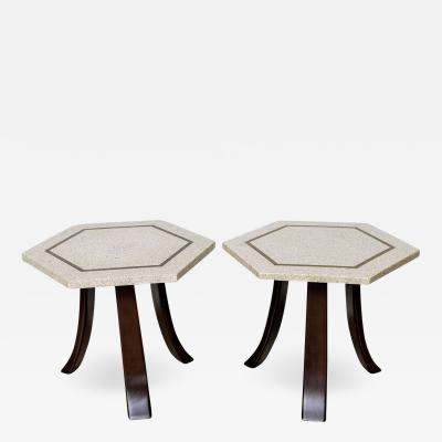 Harvey Probber A Pair of Harvey Probber Terrazzo and Dark Walnut Tables