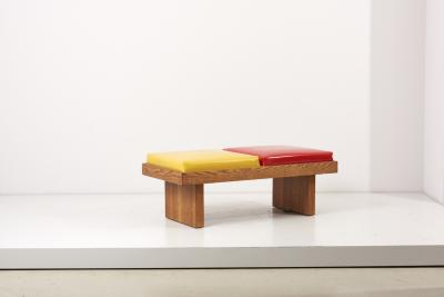 Harvey Probber Bench by Harvey Probber in Ketchup Mustard in Oak USA 1960s