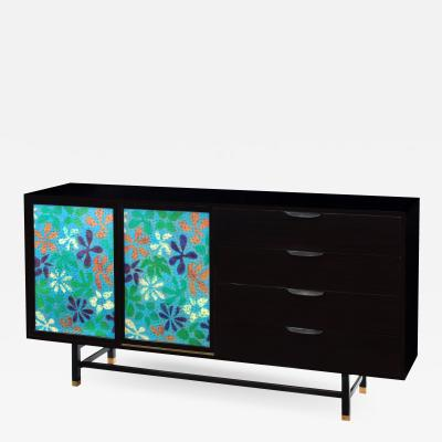 Harvey Probber Cabinet With Stunning Jewelry Enamel Doors by Harvey Probber 1950s Signed