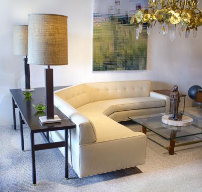 Harvey Probber Custom Angular Sofa by Harvey Probber with Sofa Table Writing Desk