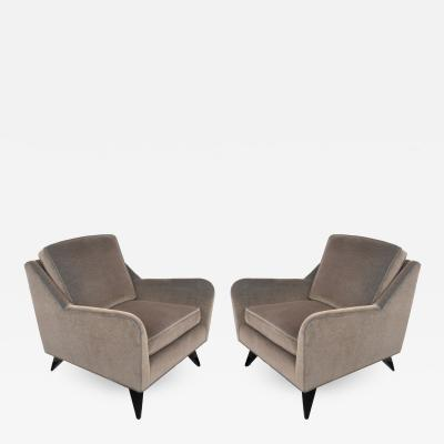 Harvey Probber Early 1950s Pair of Harvey Probber Club Chairs in Smokey Gray Mohair