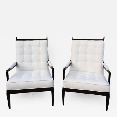 Harvey Probber Elegant High Back Club Chairs