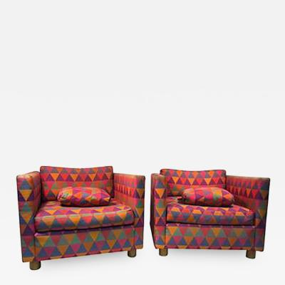 Harvey Probber Fabulous Pair of Club Chairs attributed to Harvey Probber in Larsen Fabric
