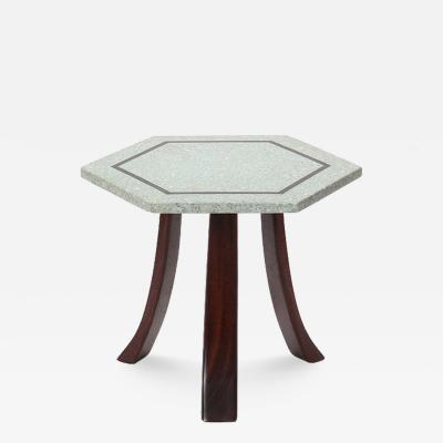 Harvey Probber HARVEY PROBBER TERRAZZO HEXAGONAL END TABLE