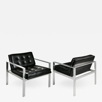 Harvey Probber Harvey Probber Aluminum and Black Tufted Leather Armchairs 1960s
