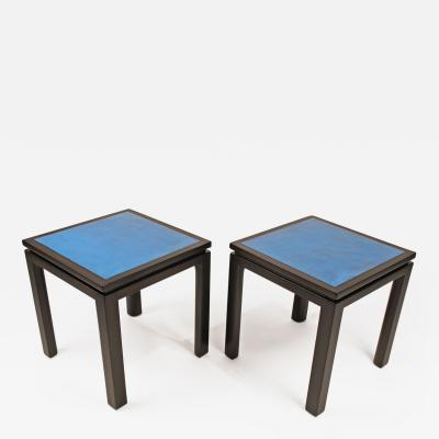 Harvey Probber Harvey Probber Blue Enameled Copper and Espresso Mahogany Side Tables