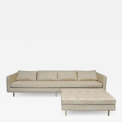 Harvey Probber Harvey Probber Brass Base Sofa and Ottoman