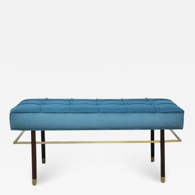 Harvey Probber Harvey Probber Brass Frame Bench in Blue Velvet