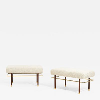 Harvey Probber Harvey Probber Brass Frame Benches in White Boucle Circa 1950