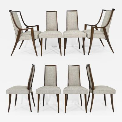 Harvey Probber Harvey Probber Dining Chairs With New Tan Gray Woven Upholstery Set of Eight